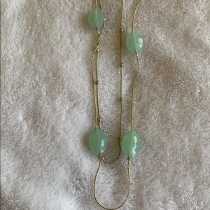 Light Green Bead Double Strand Necklace